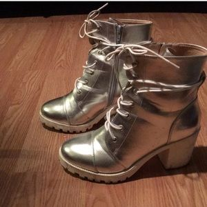 Metallic silver lace-up combat boots